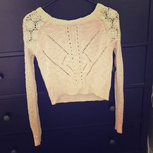 Cropped Cream Crocheted Woven Sweater Small